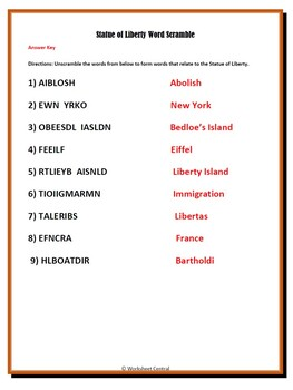 Differentiated Statue of Liberty Word Scramble w/ Answer Key