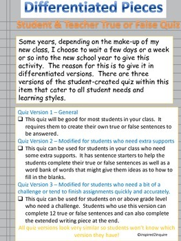 First Days of School Getting-to-Know-You Teacher & Student Quiz (Differentiated)