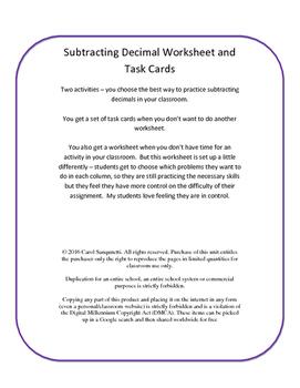 Differentiated Subtract Decimal Worksheet/Task Cards