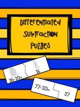 Differentiated Subtracting Multiples of 10 Puzzles - FREEBIE