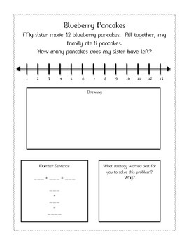 Differentiated Subtraction Word Problems Printable with Self Assessment