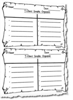 Differentiated T Chart Graphic Organizer Template (Horizontal Version)