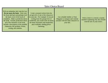 Differentiated Tales  (Fairytales, Tall Tales and Folk Tales, Myths)