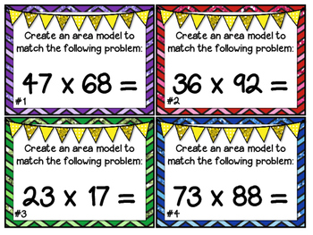 Differentiated Task Cards Multiplying Numbers Using Area Models 5.NBT.5
