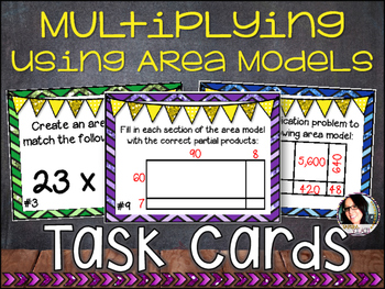 Differentiated Task Cards Multiplying Numbers Using Area M