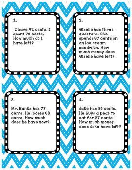 Differentiated Task Cards  Subtraction with Money story Problems 2 Levels