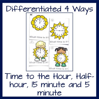 Telling Time Task Cards Time to the Hour, Half-Hour, Quarter-Hour, 5 minutes