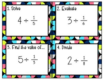Differentiated Task Cards for Dividing Fractions
