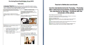 "Task Cards for Non-Fiction Text - ""The Psychology and Biology of Beauty"""