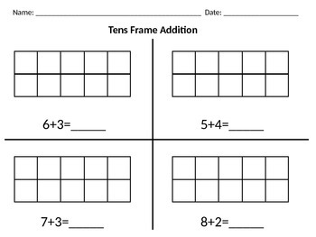 Differentiated Tens Frame Addition