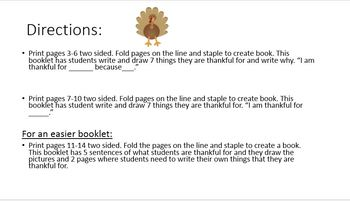 Differentiated Thankful Booklets for Thanksgiving