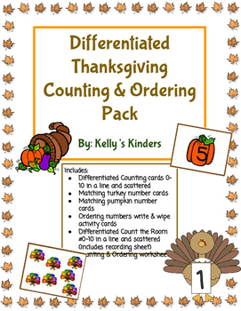 Differentiated Thanksgiving Counting & Ordering Pack