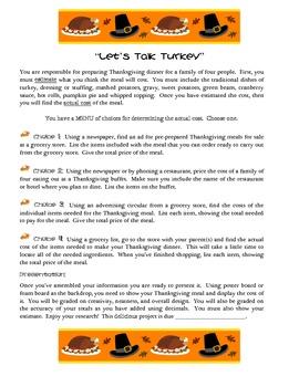 Let's Talk Turkey!  Differentiated Thanksgiving Math