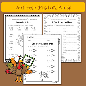Differentiated Thanksgiving No Prep Math Printables