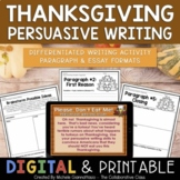 Differentiated Thanksgiving Persuasive Writing Project from a Turkey's POV
