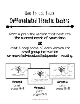 Differentiated Thematic Readers - I Can Touch and Count Bats {Emergent Readers}