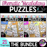 Thematic Vocabulary Puzzles Bundle - English as a Second Language ESL ELL