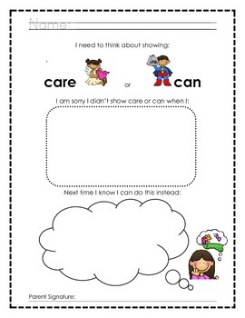 Differentiated Thinking about choices Worksheets and Apology Letters
