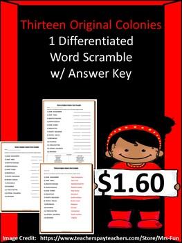 Differentiated  Original Thirteen Colonies Word Scramble w/ Answer Key