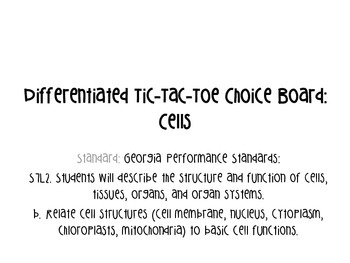 Differentiated Tic-Tac-Toe Choice Board Cells