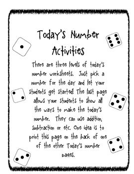 Differentiated Today's Number Math Activity