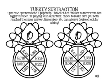 Differentiated Turkey Math Spinners