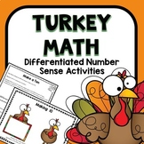 Differentiated Turkey Number Sense Math Activities for Pre