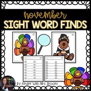 Differentiated Turkey Sight Word Find