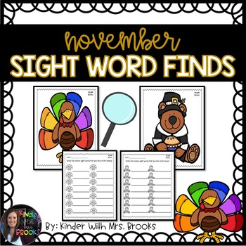 Differentiated November/Thanksgiving Sight Word Find