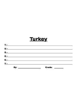 Differentiated Turkey Writing Assignment