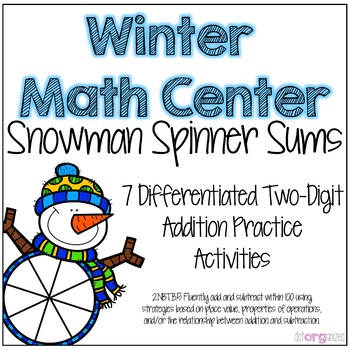 Two-Digit Addition Differentiated Spinner Winter Math Center