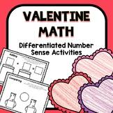 Differentiated Valentine Number Sense Math for Preschool &