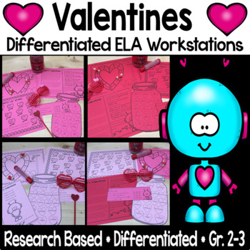 Differentiated Valentines ELA Workstations