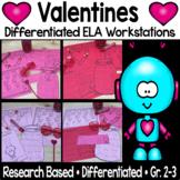 Valentines ELA Differentiated Reading Centers