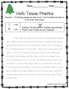 Differentiated Verb Tense Practice Bundle - Christmas Themed!