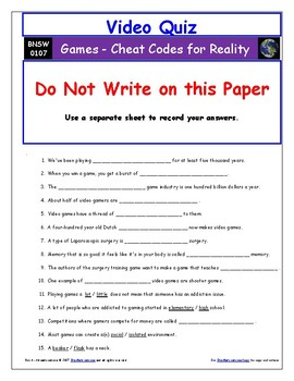 """Differentiated Video Guide, Quiz & Ans. for """" Games - Cheat Codes for Reality *"""""""