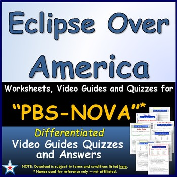 Differentiated Video Worksheet, Quiz & Ans. for NOVA - Eclipse Over America *