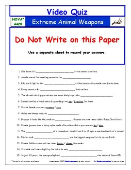 Differentiated Video Worksheet, Quiz & Ans. for NOVA - Extreme Animal Weapons *