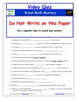 Differentiated Video Worksheet, Quiz & Ans. for NOVA - Great Math Mystery *