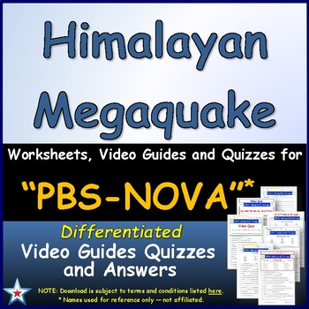 Differentiated Video Worksheet, Quiz & Ans. for NOVA - Himalayan Megaquake *