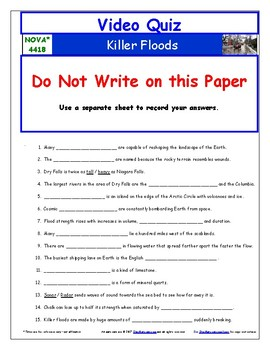 Differentiated Video Worksheet, Quiz & Ans. for NOVA - Killer Floods *