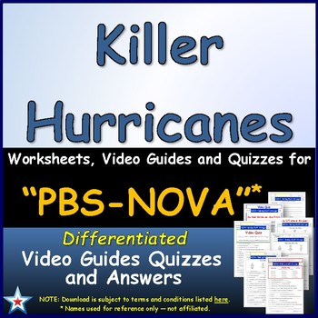 Differentiated Video Worksheet, Quiz & Ans. for NOVA - Killer Hurricanes *