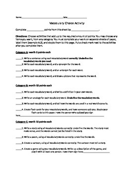 Differentiated Vocabulary Activity