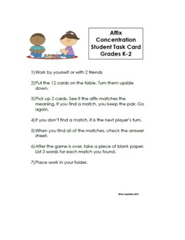 Vocabulary Game: Affix Concentration - Differentiated for grades K-8
