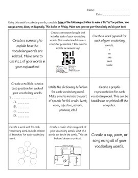Differentiated Vocabulary Homework