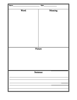 Differentiated Vocabulary Journal Template: Handwriting Without Tears Lines