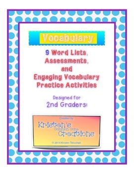 Differentiated Vocabulary Lists Assessments Activities 2nd Grade Common Core