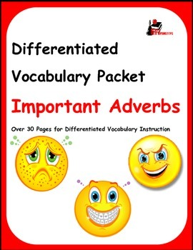 Differentiated Vocabulary Packet for ESL Students - Important Adverbs