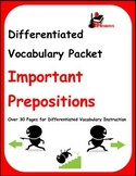 Differentiated Vocabulary Packet for ESL Students - Important Prepositions