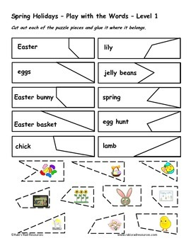 Differentiated Vocabulary Packet for ESL Students - Spring Holidays